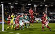 21 February 2020; Joseph Olowu of Cork City heads the ball clear during the SSE Airtricity League Premier Division match between Shamrock Rovers and Cork City at Tallaght Stadium in Dublin. Photo by Stephen McCarthy/Sportsfile