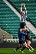 22 February 2020; James Ryan is lifted by Cian Healy, left, and Andrew Porter during the Ireland Rugby Captain's Run at Twickenham Stadium in London, England. Photo by Brendan Moran/Sportsfile