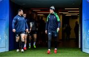 22 February 2020; Captain Jonathan Sexton, right and team-mates Cian Healy and Jordan Larmour during the Ireland Rugby Captain's Run at Twickenham Stadium in London, England. Photo by Brendan Moran/Sportsfile