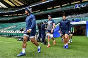 22 February 2020; Bundee Aki, left, Ultan Dillane and Dave Heffernan arrive for the Ireland Rugby Captain's Run at Twickenham Stadium in London, England. Photo by Brendan Moran/Sportsfile