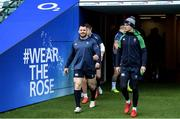 22 February 2020; Cian Healy, left, and Jonathan Sexton during the Ireland Rugby Captain's Run at Twickenham Stadium in London, England. Photo by Ramsey Cardy/Sportsfile