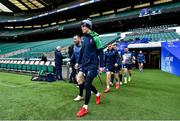 22 February 2020; Captain Jonathan Sexton leads his side out for the Ireland Rugby Captain's Run at Twickenham Stadium in London, England. Photo by Brendan Moran/Sportsfile