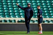 22 February 2020; Head coach Andy Farrell, left, with Jordan Larmour during the Ireland Rugby Captain's Run at Twickenham Stadium in London, England. Photo by Brendan Moran/Sportsfile