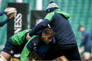 22 February 2020; Caelan Doris and National scrum coach John Fogarty during the Ireland Rugby Captain's Run at Twickenham Stadium in London, England. Photo by Ramsey Cardy/Sportsfile