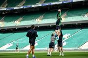 22 February 2020; Caelan Doris, lifted by Jack McGrath and Dave Kilcoyne during the Ireland Rugby Captain's Run at Twickenham Stadium in London, England. Photo by Ramsey Cardy/Sportsfile