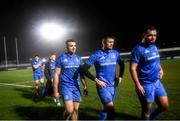21 February 2020; Cian Kelleher, Harry Byrne and Jack Aungier of Leinster following the Guinness PRO14 Round 12 match between Ospreys and Leinster at The Gnoll in Neath, Wales. Photo by Ramsey Cardy/Sportsfile