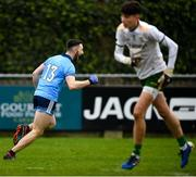 22 February 2020; Ciarán Archer of Dublin celebrates after scoring his side's first goal during the Eirgrid Leinster GAA Football U20 Championship Semi-Final match between Dublin and Meath at Parnell Park in Dublin. Photo by David Fitzgerald/Sportsfile