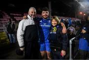 21 February 2020; Michael Milne of Leinster with his parents following the Guinness PRO14 Round 12 match between Ospreys and Leinster at The Gnoll in Neath, Wales. Photo by Ramsey Cardy/Sportsfile