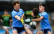 22 February 2020; Michael Gavin of Meath is tackled by Kieran McKeon, left, and Lorcan O'Dell of Dublin during the Eirgrid Leinster GAA Football U20 Championship Semi-Final match between Dublin and Meath at Parnell Park in Dublin. Photo by David Fitzgerald/Sportsfile