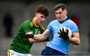 22 February 2020; Luke Swan of Dublin in action against Michael Gavin of Meath during the Eirgrid Leinster GAA Football U20 Championship Semi-Final match between Dublin and Meath at Parnell Park in Dublin. Photo by David Fitzgerald/Sportsfile