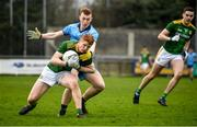 22 February 2020; James O'Hare of Meath is tackled by Kieran McKeon of Dublin during the Eirgrid Leinster GAA Football U20 Championship Semi-Final match between Dublin and Meath at Parnell Park in Dublin. Photo by David Fitzgerald/Sportsfile