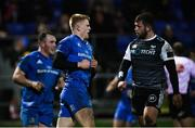 21 February 2020; Tommy O'Brien of Leinster celebrates after scoring his side's first try during the Guinness PRO14 Round 12 match between Ospreys and Leinster at The Gnoll in Neath, Wales. Photo by Ramsey Cardy/Sportsfile