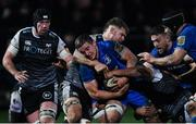 21 February 2020; Scott Penny of Leinster and Olly Cracknell of Ospreys during the Guinness PRO14 Round 12 match between Ospreys and Leinster at The Gnoll in Neath, Wales. Photo by Ramsey Cardy/Sportsfile