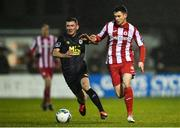 21 February 2020; Johnny Dunleavy of Sligo Rovers and James Doona of St Patrick's Athletic during the SSE Airtricity League Premier Division match between Sligo Rovers and St. Patrick's Athletic at The Showgrounds in Sligo. Photo by Ben McShane/Sportsfile
