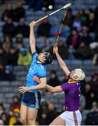 22 February 2020; Ronan Hayes of Dublin and Liam Ryan of Wexford contest a high ball during the Allianz Hurling League Division 1 Group B Round 4 match between Dublin and Wexford at Croke Park in Dublin. Photo by Sam Barnes/Sportsfile