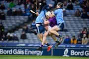 22 February 2020; Oisín O'Rorke, left, and Ronan Hayes of Dublin contest a high ball with Liam Ryan of Wexford during the Allianz Hurling League Division 1 Group B Round 4 match between Dublin and Wexford at Croke Park in Dublin. Photo by Sam Barnes/Sportsfile