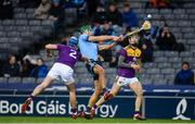 22 February 2020; Chris Crummey of Dublin in action against Conor Firman, left, and Joe O'Connor of Wexford during the Allianz Hurling League Division 1 Group B Round 4 match between Dublin and Wexford at Croke Park in Dublin. Photo by Sam Barnes/Sportsfile