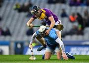 22 February 2020; Jake Malone of Dublin is tackled by Diarmuid O'Keeffe of Wexford during the Allianz Hurling League Division 1 Group B Round 4 match between Dublin and Wexford at Croke Park in Dublin. Photo by Eóin Noonan/Sportsfile