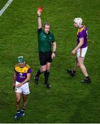 22 February 2020; Shaun Murphy of Wexford is shown a red card by referee Johnny Murphy during the Allianz Hurling League Division 1 Group B Round 4 match between Dublin and Wexford at Croke Park in Dublin. Photo by Harry Murphy/Sportsfile