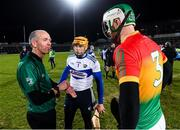 22 February 2020; Referee Cathal McAllister with Carlow captain Paul Doyle and Laois captain Enda Rowland before the Allianz Hurling League Division 1 Group B Round 4 match between Laois and Carlow at MW Hire O'Moore Park in Portlaoise, Laois. Photo by Matt Browne/Sportsfile