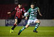 22 February 2020; Sean Callan of Shamrock Rovers II in action against Rob Manley of Longford Town during the SSE Airtricity League First Division match between Longford Town and Shamrock Rovers II at Bishopsgate in Longford. Photo by Stephen McCarthy/Sportsfile