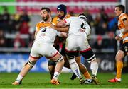22 February 2020; Wilmar Arnoldi of Toyota Cheetahs is tackled by Nick Timoney and Marcell Coetzee of Ulster during the Guinness PRO14 Round 12 match between Ulster and Toyota Cheetahs at Kingspan Stadium in Belfast.  Photo by Oliver McVeigh/Sportsfile