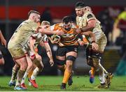 22 February 2020; Chris Massyn of Toyota Cheetahs is tackled by Adam McBurney and Marcell Coetzee of Ulster during the Guinness PRO14 Round 12 match between Ulster and Toyota Cheetahs at Kingspan Stadium in Belfast.  Photo by Oliver McVeigh/Sportsfile