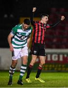 22 February 2020; Rob Manley of Longford Town celebrates after scoring his side's second goal during the SSE Airtricity League First Division match between Longford Town and Shamrock Rovers II at Bishopsgate in Longford. Photo by Stephen McCarthy/Sportsfile