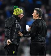 22 February 2020; Donegal manager Declan Bonner protests to referee Maurice Deegan during the Allianz Football League Division 1 Round 4 match between Dublin and Donegal at Croke Park in Dublin. Photo by Eóin Noonan/Sportsfile