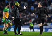 22 February 2020; Donegal manager Declan Bonner and Ryan McHugh of Donegal protest to referee Maurice Deegan during the Allianz Football League Division 1 Round 4 match between Dublin and Donegal at Croke Park in Dublin. Photo by Eóin Noonan/Sportsfile