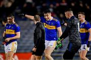 22 February 2020; Tipperary players, from left, Bill Maher, Alan Campbell, Evan Comerford, and Jason Lonergan with referee Brendan Cawley after the Allianz Football League Division 3 Round 4 match between Tipperary and Cork at Semple Stadium in Thurles, Tipperary. Photo by Piaras Ó Mídheach/Sportsfile