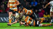 22 February 2020; James Hume of Ulster is tackled by Jasper Wiese and Sintu Manjezi of Toyota Cheetahs during the Guinness PRO14 Round 12 match between Ulster and Toyota Cheetahs at Kingspan Stadium in Belfast.  Photo by Oliver McVeigh/Sportsfile