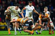 22 February 2020; James Hume of Ulster is tackled by Jasper Wiese of Toyota Cheetahs during the Guinness PRO14 Round 12 match between Ulster and Toyota Cheetahs at Kingspan Stadium in Belfast.  Photo by Oliver McVeigh/Sportsfile