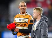 22 February 2020; Former Ulster player Ruan Pienaar of Toyota Cheetahs and David Shanahan of Ulster after the Guinness PRO14 Round 12 match between Ulster and Toyota Cheetahs at Kingspan Stadium in Belfast.  Photo by Oliver McVeigh/Sportsfile