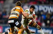 22 February 2020; Robert Baloucoune of Ulster is tackled by Benhard Janse van Rensburg of Toyota Cheetahs during the Guinness PRO14 Round 12 match between Ulster and Toyota Cheetahs at Kingspan Stadium in Belfast.  Photo by Oliver McVeigh/Sportsfile