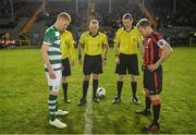 22 February 2020; Referee Alan Patchell conducts the coin toss with Shamrock Rovers II captain Darragh Nugent and Longford Town captain Dean Zambra during the SSE Airtricity League First Division match between Longford Town and Shamrock Rovers II at Bishopsgate in Longford. Photo by Stephen McCarthy/Sportsfile