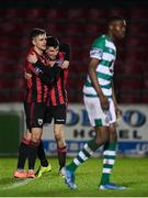 22 February 2020; Rob Manley celebrates with his Longford Town team-mate Sam Verdon, left, celebrates after scoring their side's second goal during the SSE Airtricity League First Division match between Longford Town and Shamrock Rovers II at Bishopsgate in Longford. Photo by Stephen McCarthy/Sportsfile