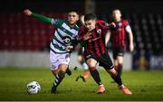 22 February 2020; Alex Dunne of Shamrock Rovers II and Aaron McNally of Longford Town during the SSE Airtricity League First Division match between Longford Town and Shamrock Rovers II at Bishopsgate in Longford. Photo by Stephen McCarthy/Sportsfile
