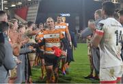 22 February 2020; Former Ulster player Ruan Pienaar of Toyota Cheetahs takes the applause of the Ulster players after the Guinness PRO14 Round 12 match between Ulster and Toyota Cheetahs at Kingspan Stadium in Belfast.  Photo by Oliver McVeigh/Sportsfile