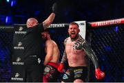 22 February 2020; Charlie Ward celebrates after winning his middleweight bout with Kyle Kurtz at Bellator Dublin in the 3 Arena, Dublin. Photo by David Fitzgerald/Sportsfile