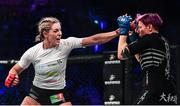 22 February 2020; Leah McCourt, left, and Judith Ruis during their women's featherweight bout at Bellator Dublin in the 3 Arena, Dublin. Photo by David Fitzgerald/Sportsfile