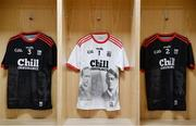 23 February 2020; A view of the commemorative Cork jerseys of Eoin Cadogan, Patrick Collins, and Sean O'Leary, ahead of the Allianz Hurling League Division 1 Group A Round 4 match between Cork and Limerick at Páirc Uí Chaoimh in Cork. The jersey is designed to honour Tomás Mac Curtain and Terence MacSwiney who both died while serving as Lord Mayor of Cork in 1920.  Photo by Sam Barnes/Sportsfile