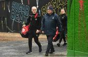 23 February 2020; Tyrone manager Mickey Harte, left, arrives alongside Tuam Stadium groundsman Tony Melia prior to the Allianz Football League Division 1 Round 4 match between Galway and Tyrone at Tuam Stadium in Tuam, Galway.  Photo by David Fitzgerald/Sportsfile