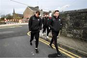 23 February 2020; Cian Darcy, right, and Tom Flynn of Galway arrive ahead of their team-mates as they walk to the stadium prior to the Allianz Football League Division 1 Round 4 match between Galway and Tyrone at Tuam Stadium in Tuam, Galway.  Photo by David Fitzgerald/Sportsfile