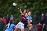 23 February 2020; Siobhán Divilly of Galway in action against Jennifer Dunne, right, and Leah Caffrey of Dublin during the 2020 Lidl Ladies National Football League Division 1 Round 4 match between Dublin and Galway at Parnell Park in Dublin. Photo by Piaras Ó Mídheach/Sportsfile