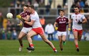 23 February 2020; Cillian McDaid of Galway is tackled by Brian Kennedy of Tyrone during the Allianz Football League Division 1 Round 4 match between Galway and Tyrone at Tuam Stadium in Tuam, Galway.  Photo by David Fitzgerald/Sportsfile