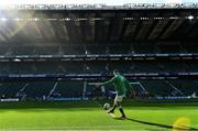 23 February 2020; Jonathan Sexton of Ireland kicks in the warm-up prior to the Guinness Six Nations Rugby Championship match between England and Ireland at Twickenham Stadium in London, England. Photo by Brendan Moran/Sportsfile Photo by Brendan Moran/Sportsfile