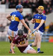 23 February 2020; Liam Varley of Westmeath in action against Jason Forde and Jake Morris of Tipperary during the Allianz Hurling League Division 1 Group A Round 4 match between Tipperary and Westmeath at Semple Stadium in Thurles, Co Tipperary. Photo by Michael P Ryan/Sportsfile