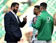 23 February 2020; Ireland head coach Andy Farrell speaks with Conor Murray and Jonathan Sexton prior to the Guinness Six Nations Rugby Championship match between England and Ireland at Twickenham Stadium in London, England. Photo by Brendan Moran/Sportsfile Photo by Brendan Moran/Sportsfile