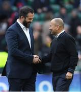 23 February 2020; Ireland head coach Andy Farrell and England head coach Eddie Jones shake hands prior to the Guinness Six Nations Rugby Championship match between England and Ireland at Twickenham Stadium in London, England. Photo by Ramsey Cardy/Sportsfile Photo by Ramsey Cardy/Sportsfile